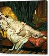 Odalisque With A Lute Canvas Print