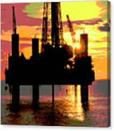 Offshore Drilling Rig Sunset Canvas Print