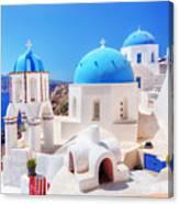 Oia Town On Santorini Island Greece Aegean Sea Canvas Print