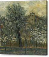 Oil Painting House Tree Canvas Print