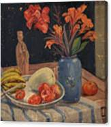 Oil Painting Still Life Vase Fruits Canvas Print