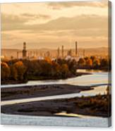 Oil Refinery At Sunset Canvas Print