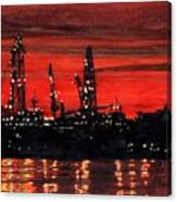 Oil Rigs Night Construction Portland Harbor Canvas Print