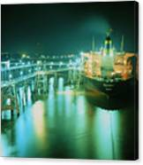 Oil Tanker In Port At Night. Canvas Print