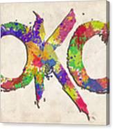 Okc Typography Watercolor Canvas Print
