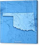 Topographic Map Oklahoma.Oklahoma State Usa 3d Render Topographic Map Blue Border Digital Art