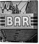 Old Bar Sign Livingston Montana Black And White Canvas Print