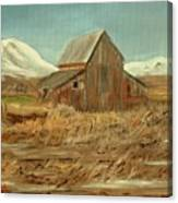 Old Barn And Mountain View Canvas Print