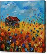 Old Barn And Wild Flowers Canvas Print