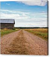 Old Barn By The Gravel Road Canvas Print