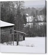 Old Barn In Winter Scenery Canvas Print