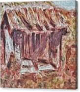 Old Barn Outhouse Falling Apart In Decay And Dilapidation Rotting Wood Overgrown Mountain Valley Sce Canvas Print