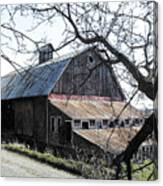Old Barn With Tree Watercolor Canvas Print