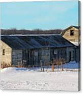 Old Barns And Snow Canvas Print