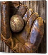 Old Baseball Mitt And Ball Canvas Print
