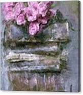 Old Books And Pink Roses Canvas Print