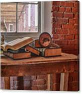 Old Books In Old Classroom Canvas Print