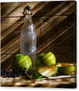 Old Bottle With Green Apples Canvas Print