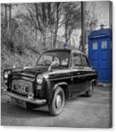 Old British Police Car And Tardis Canvas Print