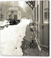 Old Caboose At Period Train Depot Winter Canvas Print