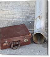 Old Cardboard Suitcase In The Street Canvas Print