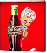Old Coca-cola Red And White Coke Machine Vintage Vendo Model 44  Canvas Print