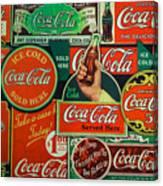 Old Coca-cola Sign Collage Canvas Print