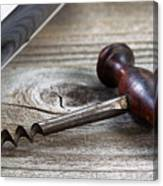 Old Corkscrew And Wine Bottle In Background On Rustic Wood Canvas Print