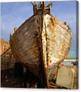 Old Dilapidated Wooden Boat  Canvas Print