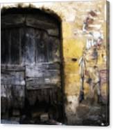 Old Door With Street Art Canvas Print