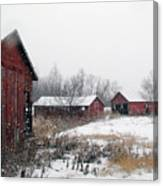 Old Farm Sheds In Snow Canvas Print