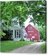 Old Farmhouse And Red Barn Canvas Print