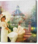 Old Fashion Child Strolling Canvas Print