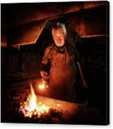 Old-fashioned Blacksmith Heating Iron Canvas Print