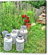 Old Fashioned Milk Churns Canvas Print