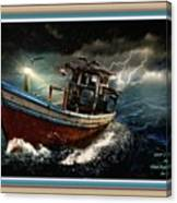Old Fishing Boat In A Storm L A With Decorative Ornate Printed Frame. Canvas Print