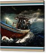 Old Fishing Boat In A Storm L B With Decorative Ornate Printed Frame. Canvas Print