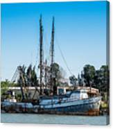 Old Fishing Boat In Port Canvas Print
