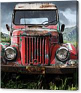 Old Forgotten Red Car Canvas Print