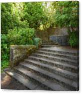 Old Garden With Stone Walls And Stair Steps Canvas Print