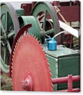 Old Gas Engine And Saw Blade At A County Fair Canvas Print