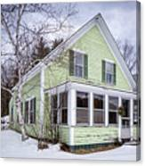 Old Green And White New Englander Home Canvas Print