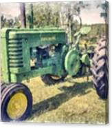 Old Green Vintage Tractor Watercolor Canvas Print