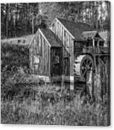 Old Grist Mill In Vermont Black And White Canvas Print