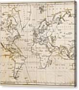 Old Hand Drawn Vintage World Map Canvas Print