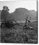Old Hay Baler In Misty Field Canvas Print