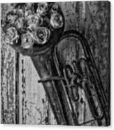 Old Horn And Roses On Door Black And White Canvas Print