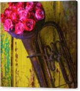 Old Horn And Roses On Door Canvas Print