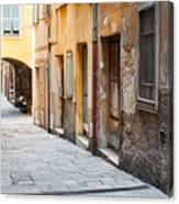 Old Houses On Narrow Street In Villefranche-sur-mer Canvas Print