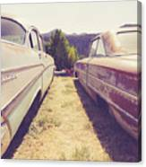 Old Junkyard Cars Chevy And Ford Utah Canvas Print